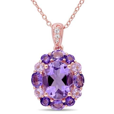 Miadora Rose Silver Amethyst Rose de France and White Topaz Halo Necklace - Purple