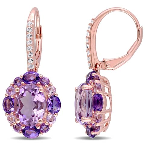 Miadora Rose Plated Silver Amethyst White Topaz and Rose de France Halo Earrings - Purple