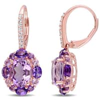 Miadora Rose Plated Silver Amethyst White Topaz and Rose de France Halo Earrings
