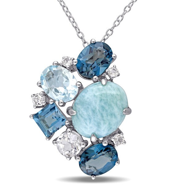 Miadora Sterling Silver Larimar and Blue and White Topaz Cluster Necklace