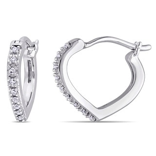 Miadora 10k White Gold Diamond Accent Hoop Heart Earrings