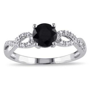 Miadora 10k White Gold 1 1/10ct TDW Black and White Diamond Infinity Ring