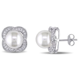 Miadora 10k White Gold Freshwater White Pearl and 1/4ct TDW Diamond Flower Earrings (H-I, I2-I3)
