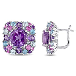 Miadora Sterling Silver Amethyst Pink Sapphire and Blue Topaz Halo Stud Earrings