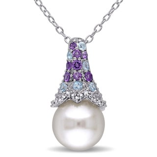 Miadora Sterling Silver Freshwater Pearl Amethyst Blue Topaz and Diamond Accent Drop Necklace (8-8.5 mm)