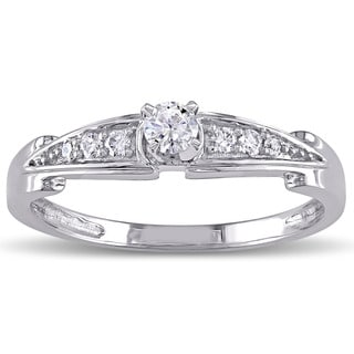 Miadora 10k White Gold 1/4ct TDW Diamond Promise Ring