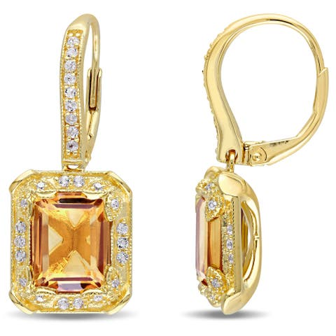 Miadora Yellow Silver Citrine and White Topaz and 1/10ct TDW Diamond Halo Dangle Earrings (H-I, I2-I3)