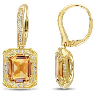 Miadora Yellow Silver Citrine and White Topaz and 1/10ct TDW Diamond Halo Dangle Earrings (H-I, I2-I3)