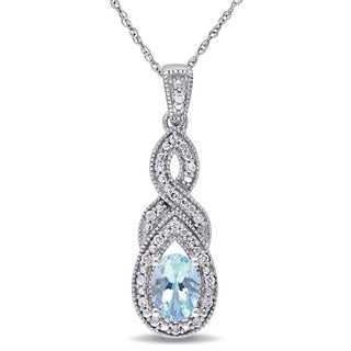 Miadora 10k White Gold Blue Topaz and 1/10ct TDW Diamond Infinity Necklace (H-I, I2-I3)