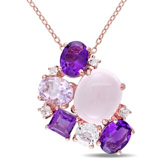 Miadora Rose Plated Silver Rose Quartz Amethyst Rose de France and White Topaz Cluster Necklace