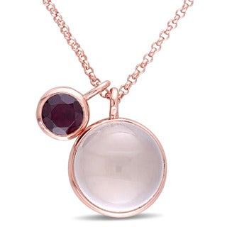Miadora Rose Plated Silver Rose Quartz and Rhodolite Double Circle Necklace