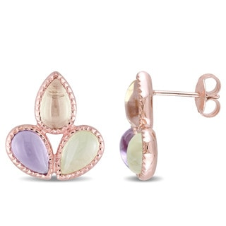 Miadora Rose Plated Silver Prehnite and Lemon Quartz with Amethyst Stud Teardrop Flower Earrings
