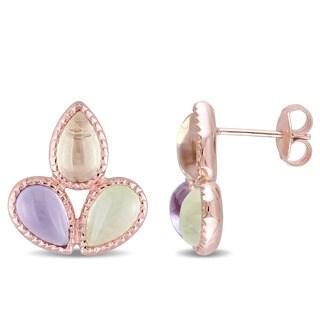 Miadora Rose Plated Silver Prehnite and Lemon Quartz with Amethyst Stud Teardrop Flower Earrings