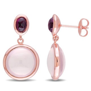 Miadora Rose Plated Silver Rose Quartz and Garnet Dangle Circle Earrings
