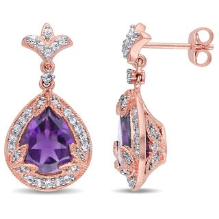 Miadora Rose Plated Silver Amethyst and White Topaz and 1/10ct TDW Diamond Teardrop Earrings (H-I, I2-I3)