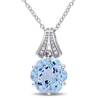 Miadora Sterling Silver Fance Sky Blue Topaz and Diamond Accent Solitaire Necklace