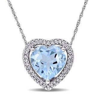 Miadora 10k White Gold Blue Topaz and 1/5ct TDW Diamond Heart Halo Necklace (H-I, I2-I3)