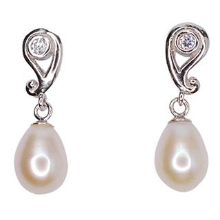 Kabella Sterling Silver Freshwater Pearl and Cubic Zirconia Dangling Earrings (6.5-7mm)
