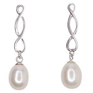 Kabella Sterling Silver 6.5-7mm Freshwater Pearl Swirl Dangle Earrings
