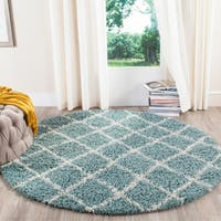 Safavieh Dallas Shag Light Blue/ Ivory Trellis Rug - 6' x 6' Round