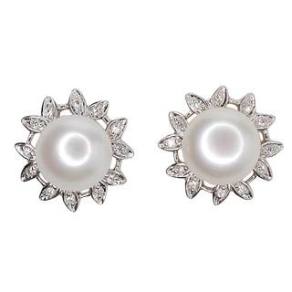 Kabella Sterling Silver Freshwater Pearl Flower Stud Earrings (10 mm)