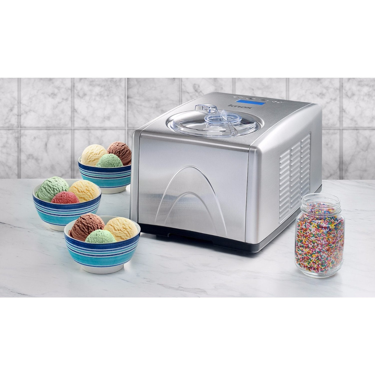 Knox 1.5-Quart Silver Ice Cream and Gelato Maker with Kee...
