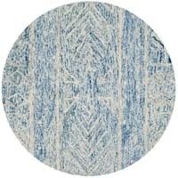 Safavieh Handmade Chatham Blue/ Ivory Wool Rug - 5' x 5' round