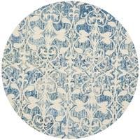 Safavieh Handmade Chatham Dark Blue/Ivory Wool Rug - 5' x 5' round