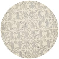 Safavieh Handmade Chatham Light Grey/ Ivory Wool Rug - 5' Round