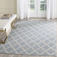 Safavieh Hand-Woven Montauk Light Blue/ Ivory Cotton Rug - 6' Square