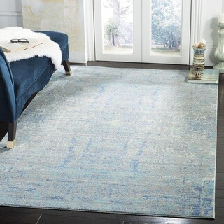 Safavieh Mystique Watercolor Light Blue/ Multi Distressed Silky Polyester Rug (6' 7 Square)
