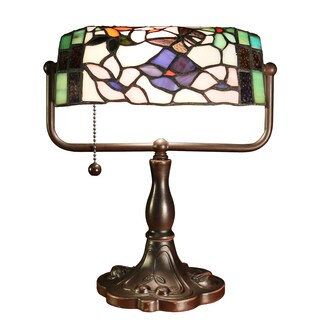 Michealla 1-light Multi-color 12-inch Tiffany-style Butterfly Bunker