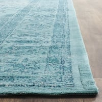 Safavieh Classic Vintage Overdyed Aqua Cotton Distressed Rug - 6' Square