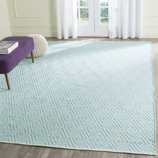 Safavieh Hand-Woven Montauk Turquoise/ Ivory Cotton Rug (6' Square)