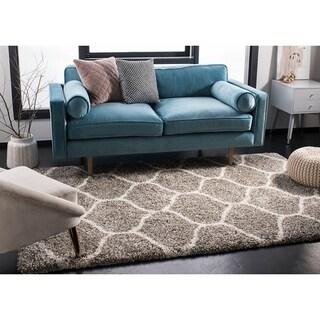 Safavieh Hudson Shag Modern Ogee Grey/ Ivory Rug (5' Square)