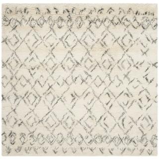 Handmade Safavieh Casablanca Ivory/ Grey Wool Rug (8' Square)