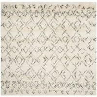 Handmade Safavieh Casablanca Ivory/ Grey Wool Rug - 8' Square