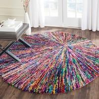Safavieh Handmade Nantucket Modern Abstract Multicolored Cotton Rug - multi - 6' Round