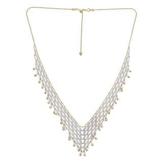 Decadence 14k Two-tone Gold V-shape Diamond-cut Beaded Necklace