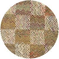 Safavieh Handmade Nantucket Modern Abstract Beige/ Brown Cotton Rug - 4' x 4' Round