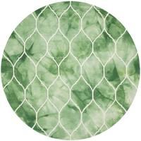 Safavieh Handmade Dip Dye Watercolor Vintage Green/ Ivory Wool Rug (7' Round)