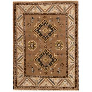Herat Oriental Indo Hand-knotted Tribal Kazak Brown/ Beige Wool Rug (4'11 x 6'7)