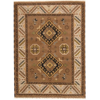 Herat Oriental Indo Hand-knotted Tribal Kazak Wool Rug (4'11 x 6'7)