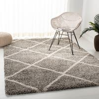 Safavieh Hudson Diamond Shag Grey/ Ivory Rug - 5' Square