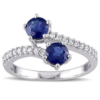 Miadora 10k White Gold Sapphire and 1/5ct TDW Diamond Bypass Ring (H-I, I2-I3)