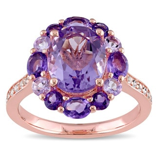 Miadora Rose Silver Amethyst Rose de France and White Topaz Cocktail Ring