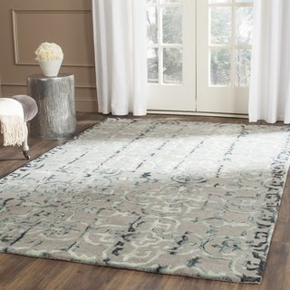 Safavieh Handmade Dip Dye Watercolor Vintage Grey/ Charcoal Wool Rug (5' Square)