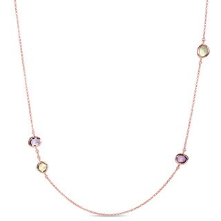 Miadora Rose Plated Silver Amethyst and Prehnite with Lemon Quartz Station Necklace
