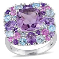 Miadora Sterling Silver Amethyst Rose Sapphire and Blue Topaz Halo Cocktail Ring