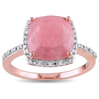 Miadora Rose Plated Silver Guava Quartz and 1/10ct TDW Diamond Halo Cocktail Ring